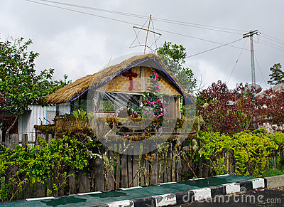 House decorated before Christmas, Papua Province, New Guinea isl