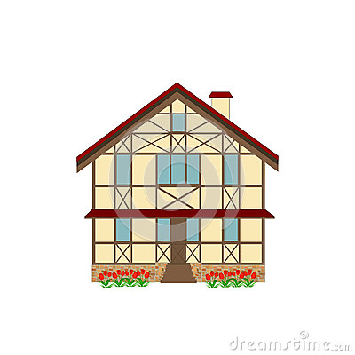 House decorated in style half-timbered framework, illustration