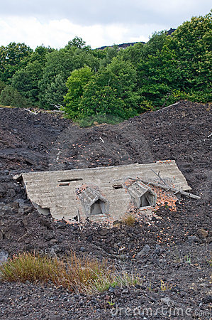 House destroyed by Lava