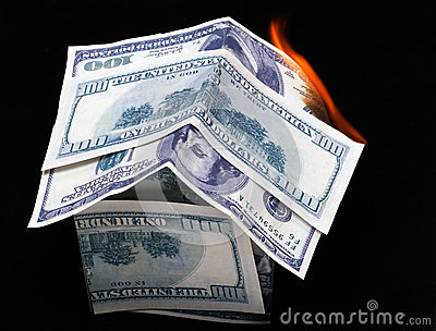 House of dollar bills. fire