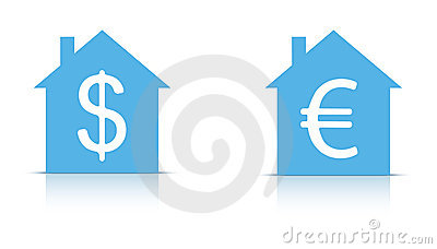 House with dollar and euro sign in
