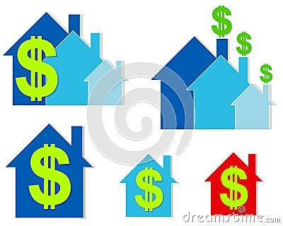House Dollar Signs Clip Art 2
