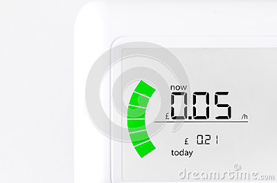 House energy meter showing the cost per for electr