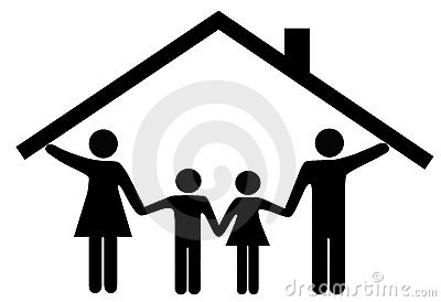 House family parents and children under home roof stock photos image 13195083 - Houses attic families children ...