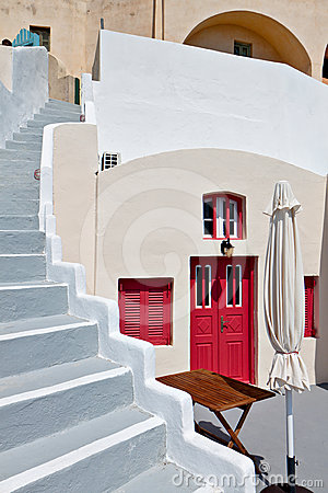 House at Fira city of Santorini island, Greece