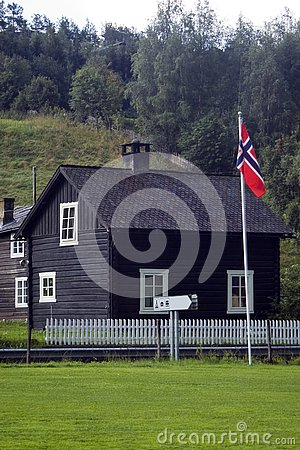 House and flag, Norway.