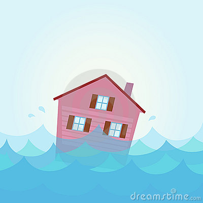 House flood - home flooding under water