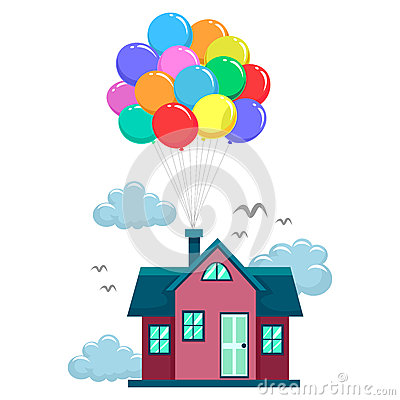 Free House Fly By Colorful Balloons Royalty Free Stock Photography - 67897337