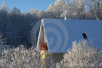 House on a frosty winter day