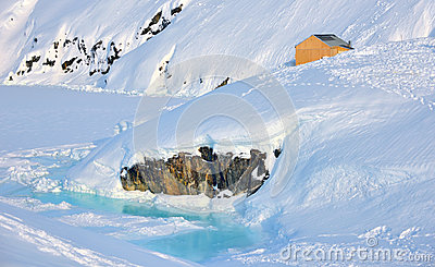 House on glacier in Greenland