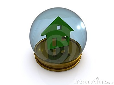 House in glass paperweight