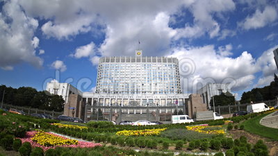 The House of the Government of the Russian Federation. Fisheye. Time-lapse. UHD - 4K. September 02, 2016. Moscow. Russia stock footage