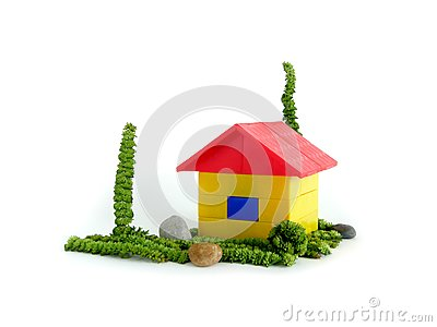 The house on a green grass