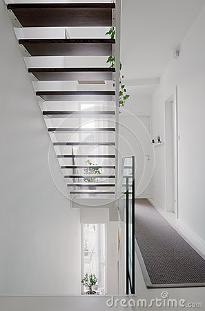 Free House Hall Stairs And Glass Balustrade Stock Images - 51208684