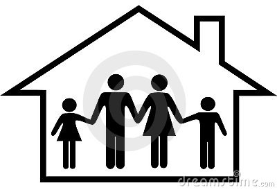 House of happy family parents kids safe at home