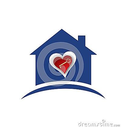 House heart and gold key logo Vector Illustration