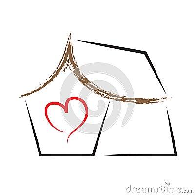 House heart home vector logo symbol Vector Illustration