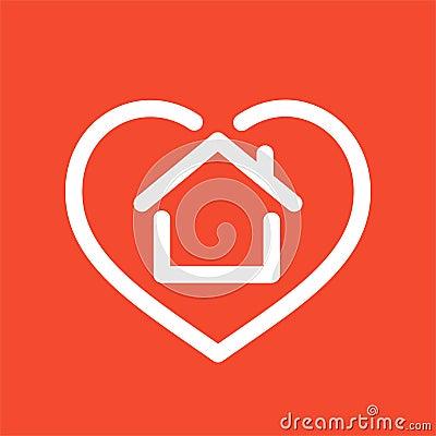 House in heart logo Vector Illustration