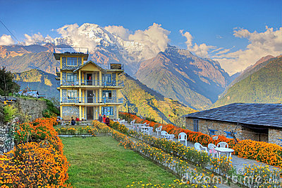 house,Himalayans,Nepal Editorial Photo