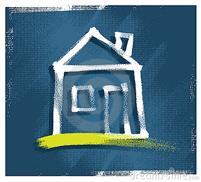 House icon, freehand drawing