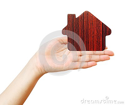 House icon in women s hand