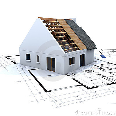 Free House In Construction And Blue Royalty Free Stock Images - 3361379