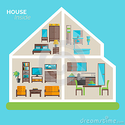 House Inside Furnishing Ideas Icon Poster Stock Vector Image 53109466