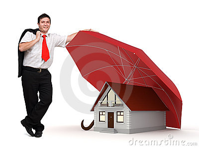 House insurance - Business man - Red umbrella