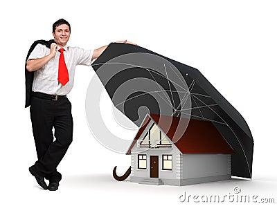 House insurance - Business man - Umbrella