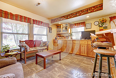 House interior. Open floor plan. Kitchen and dining area