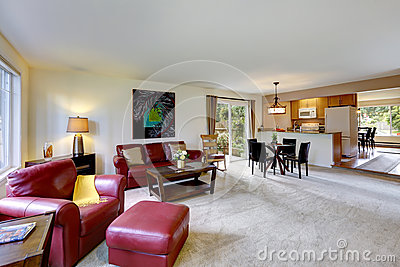 House interior with open floor plan. Living and kitchen room