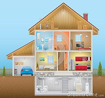 House Interior Stock Vector