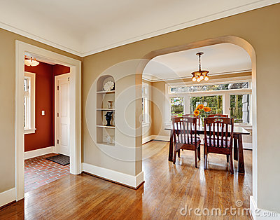 House Interior View Of Dining Area Entrance Hall Stock