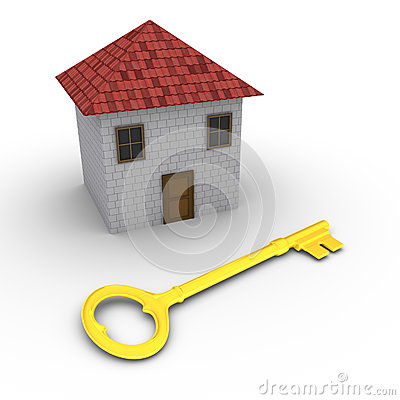 House with key in front of it