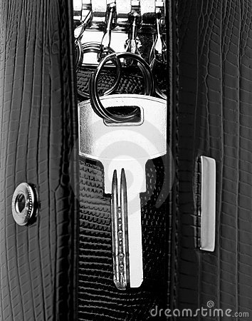 Free House Key In Leather Holder Stock Photo - 19195610