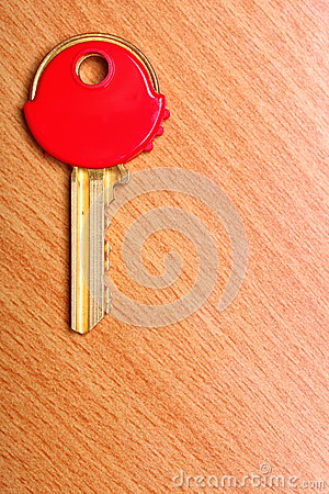 House Key With Red Plastic Coats Caps On Table Stock Photo ...