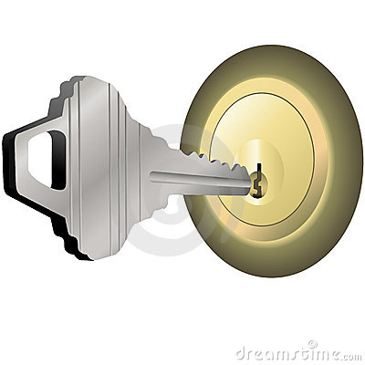 House Key to Unlock Brass Lock for Home Door