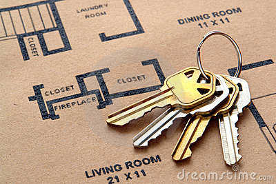 House Keys on Real Estate Housing Floor Plans