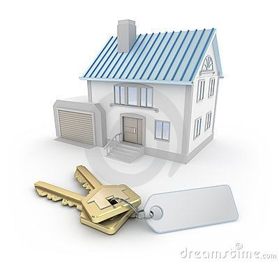 House and the keys with thumb