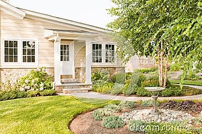 House landscaped backyard