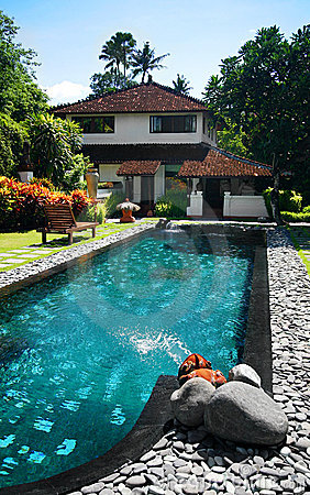 House with large outdoor swimming pool