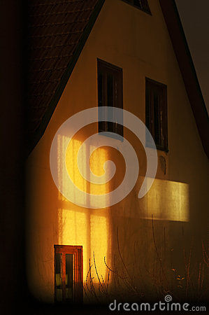 House with light beam