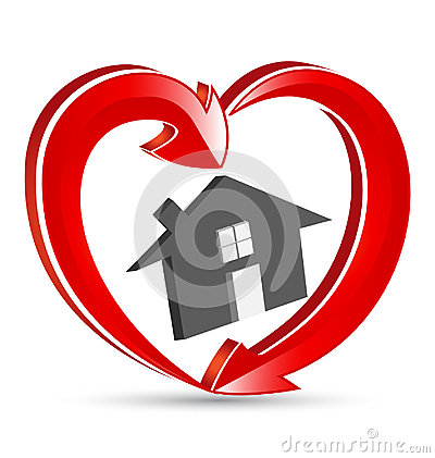 House Love Heart Family Icon Logo Vector Illustration
