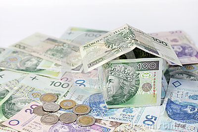 House made ​​of polish money credit and construction