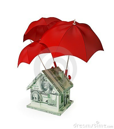 House made of money under three red umbrellas.