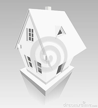 House made of paper on grey background