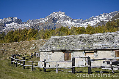 House made of stone on the alps