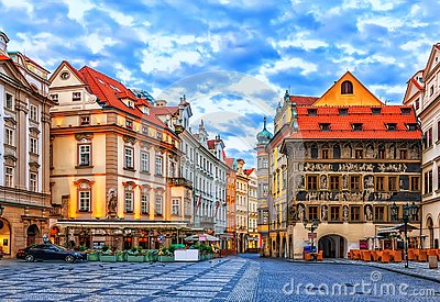 The House at the Minute in Old Town Square of Prague, Czech Republic Stock Photo