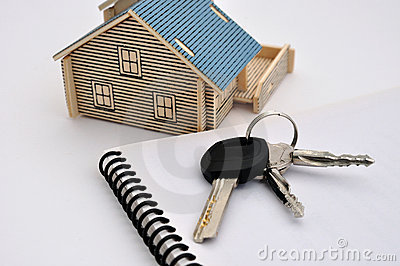 House model, keys and document