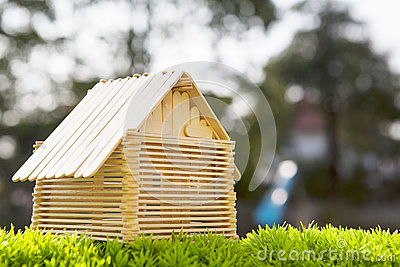House model make from wood stick on artificial gra
